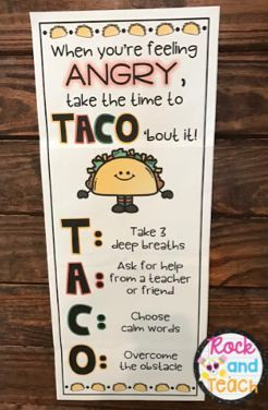 Encourage students to TACO' bout their anger! Powerful anger management strategies presented in a fun way for kids.