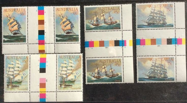 1984 Clipper Ships 30c 45c 75c 85c Gutter Pairs with Colour Bars Set of 4 MUH in Stamps, Australia, By Type   eBay!