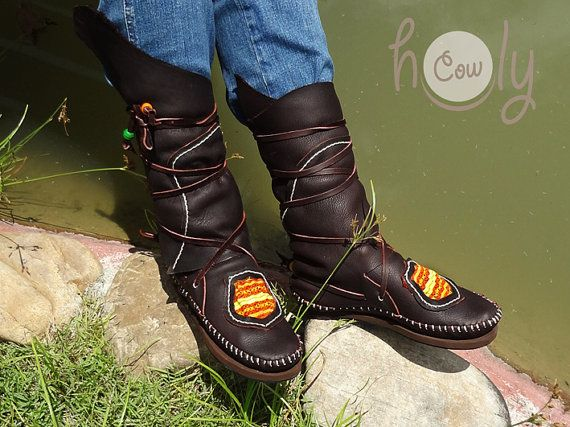 Beautiful 100 Handmade Hill Tribe Moccasins by HolyCowproducts