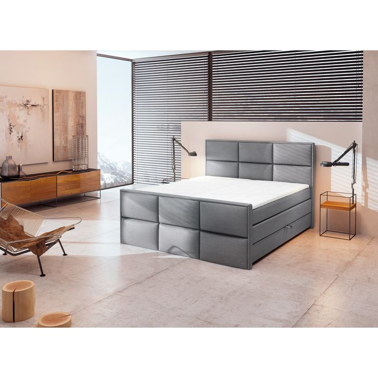 boxspringbett h3 silber 160x200 cm schlafen. Black Bedroom Furniture Sets. Home Design Ideas