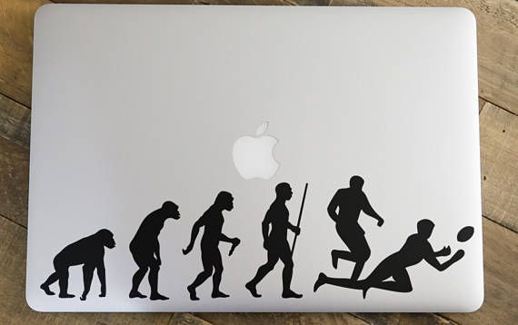 """Man Evolution to Rugby Decal Sticker for Apple Macbook and other Laptops 