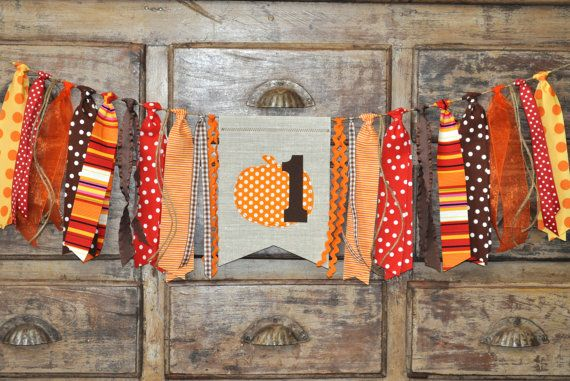 Thanksgiving Fall Autumn pumpkin first birthday highchair fabric rag banner garland, I am 1 one photo prop, 1st birthday party decoration