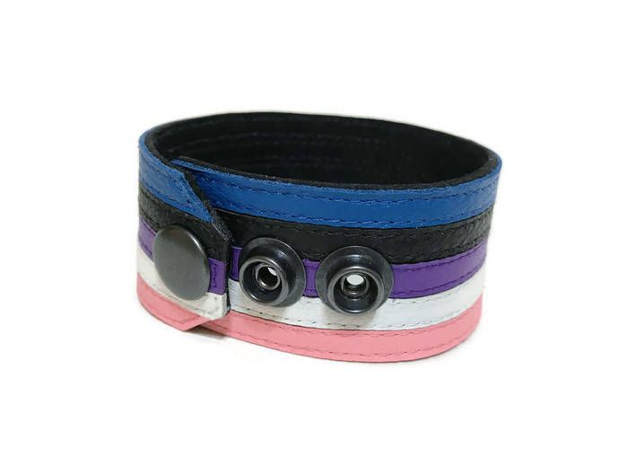 Non Binary Adjustable Leather /& Glass Cabachon Wristband