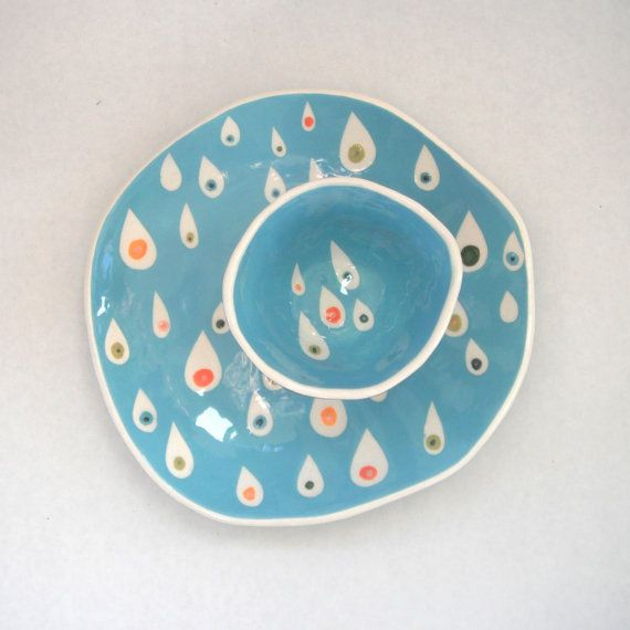 Dessert plate Pink Raindrops by CeramicaBotanica