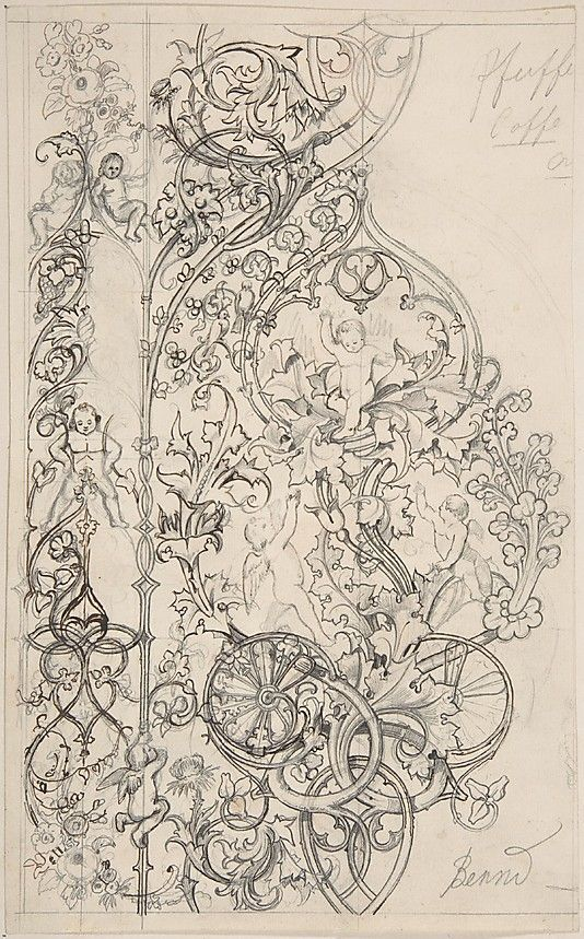 Gothic Ornament with Putti and Acanthus Leaves  Attributed to Bernd  (German (?)):