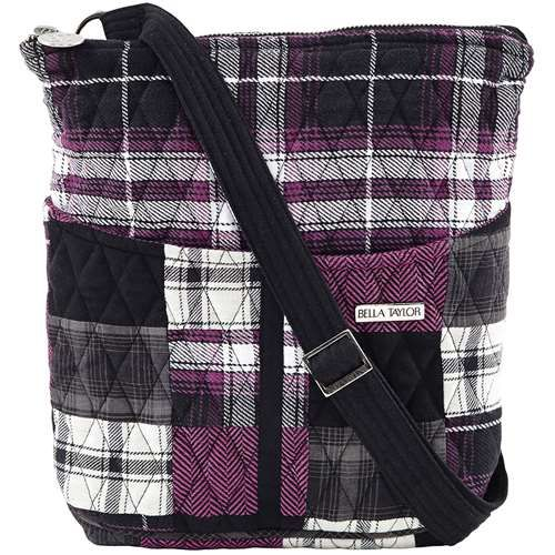 London Hipster - The Hipster from our London Collection is a feminine patchwork of playful purple, classic black and crisp white. featuring a jet black microsuede trim and strap. This bag can be worn over the shoulder or cross body. Measuring 8x1x11