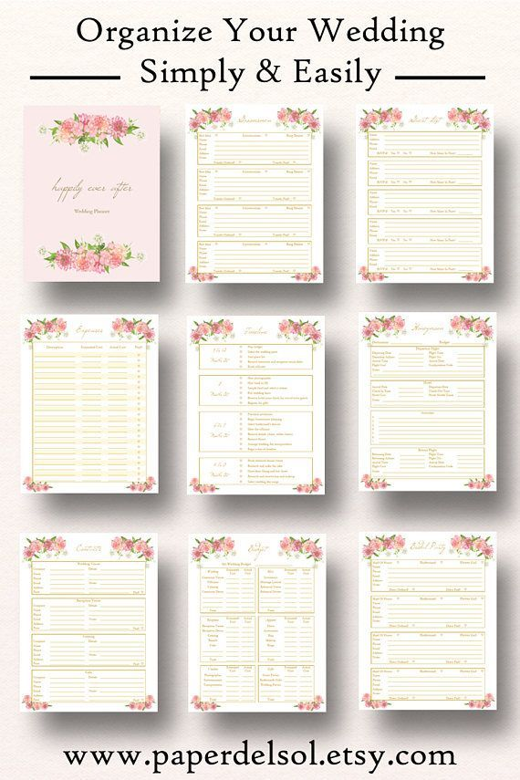 Floral Wedding Planner PrintableEdit description