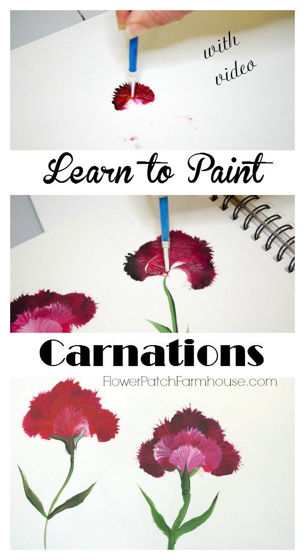 Learn How to Paint Carnations.  This is such a simple technique that gives you great results and is so much fun! Come paint with me! FlowerPatchFarmhouse.com