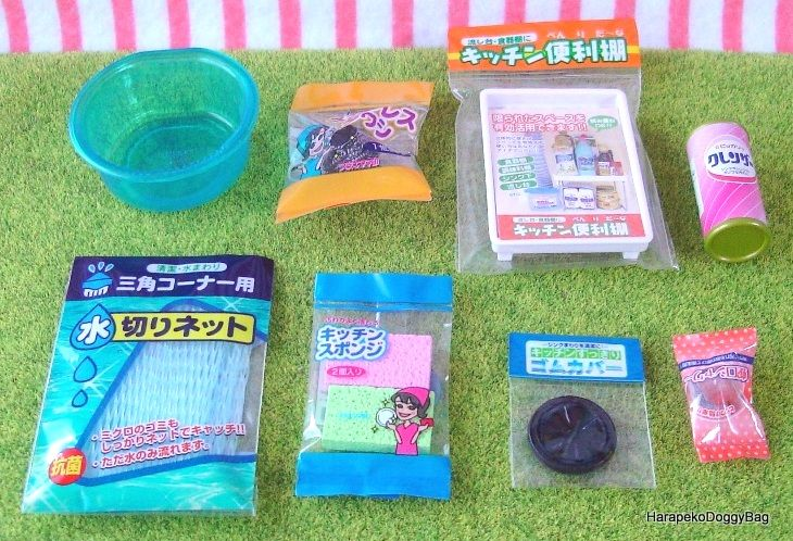 Re-ment / Rement : Japanese Dollhouse Toys : Kitchen & Household Goods #4 - Miniature Cleaning Products / Detergent / Sink Filter / Mesh Sink Strainer / Sponges / Scourer / Tap Head / Foldable Rack