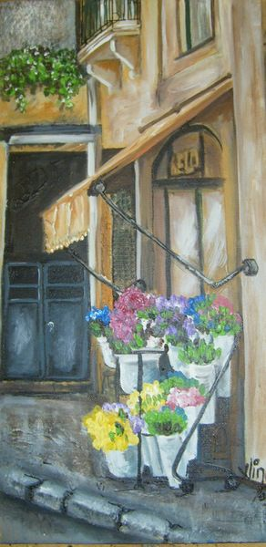 Art,Painting,Acrylic,Flowers,Landscape,Buildings Tomar. Flower shop