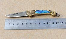 mini kleur shell damascus messen damascus staal vouwen jacht kamperen tactisch mes handgemaakte gave collectie gratis verzending(China (Mainland))