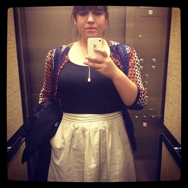 #Vintage Value Village gold skirt and seasons-old Urban Outfitters blouse. #whatiwore #dailyoutfit #ootd