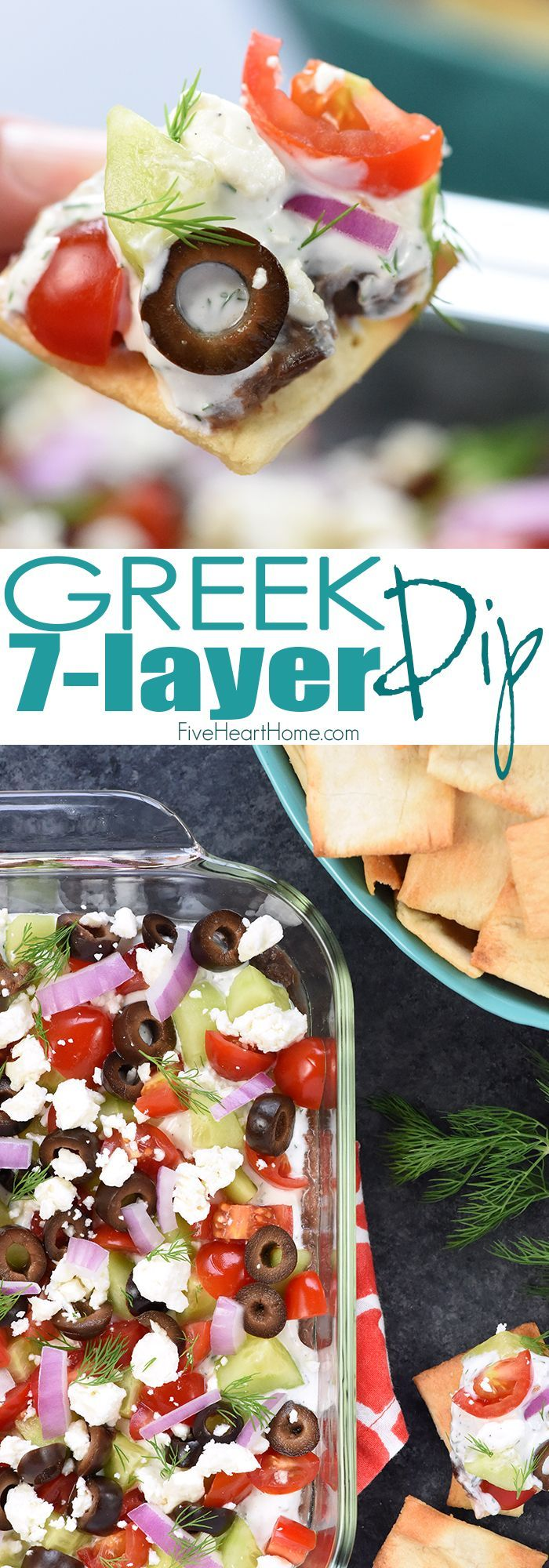Greek 7-Layer Dip ~ a Mediterranean spin on the beloved, classic recipe, with layers of hummus, dill-infused Greek yogurt, tomatoes, cucumbers, black olives, red onion, and feta cheese! | FiveHeartHome.com
