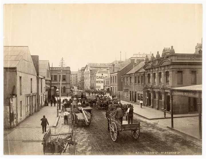 Sussex St,at Erskine St,Wynyard,Sydney in 1870.