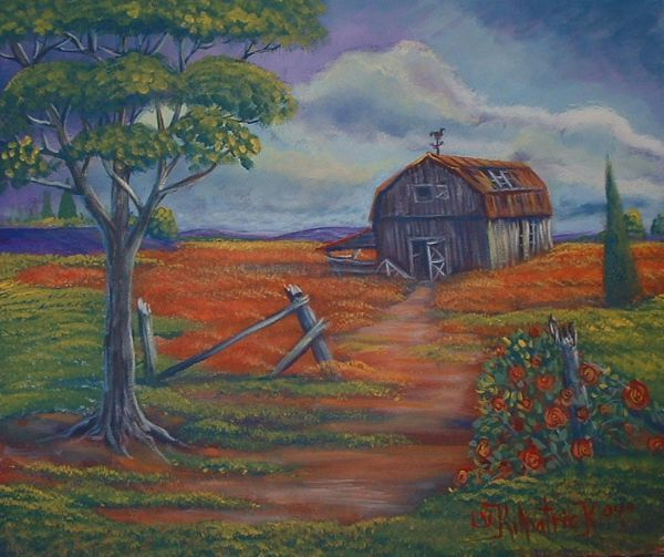 painting of old barns in acrylic | Old Barn With Tree by ...