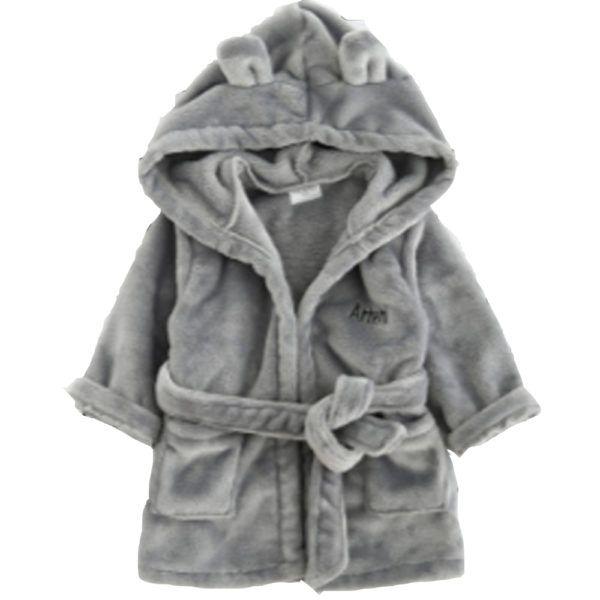39,90€ Peignoir bébé gris aventurier -- Peignoir bébé gris polyester