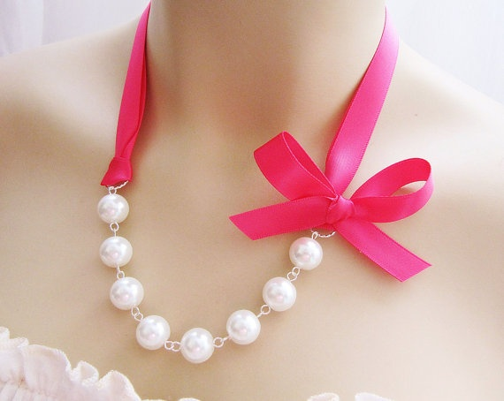 bride or bridesmaids with the right colored ribbon?Pink Pink Pink, Colors Ribbons, Pearls Ribbons Just, Jewelry, Black Ribbons, Pearls Ribbons Lov, Pretty, Ivory Colors, Bridesmaid Gift
