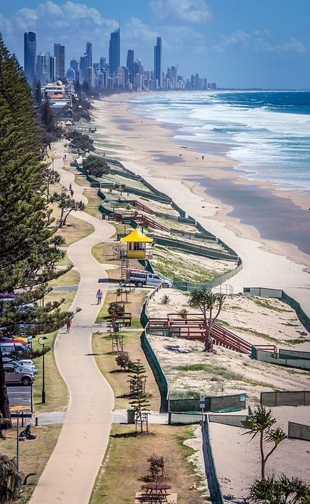 Gold Coast, Skyline, Beach, Path, Coast, Australia