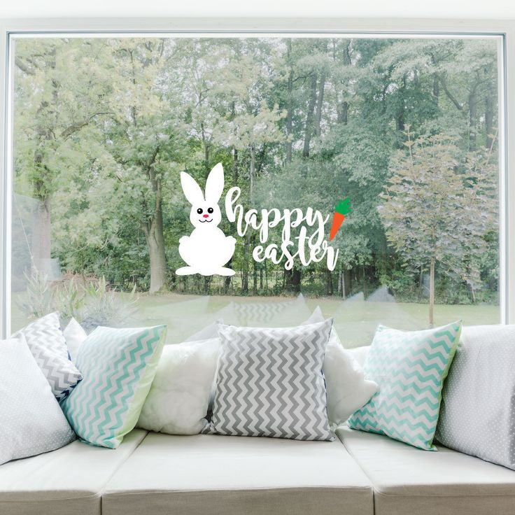Happy easter easter decorations easter bunny spring decor window cling reusable wall decals window decals window clings