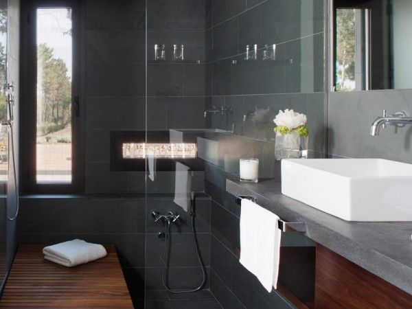 The Bathrooms Have Their Own Careful Luxury With This Dark Gray Slate Tile Modern Interior
