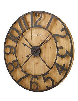 Bulova Silhouette Over-Sized Wall Clock - Rustic Metal Numerals - Pine Veneer
