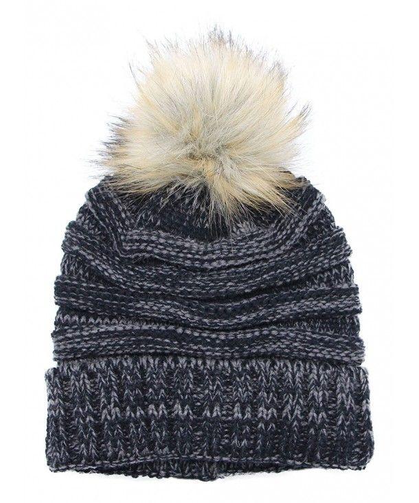 9b6ea2cf3 Women's Slouchy Knit Beanie: Bobble Hat Faux Fur Pom Pom Oversized ...