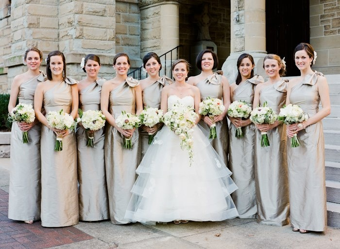 Winter wedding bride with bridesmaids in long champagne for Donnelly house