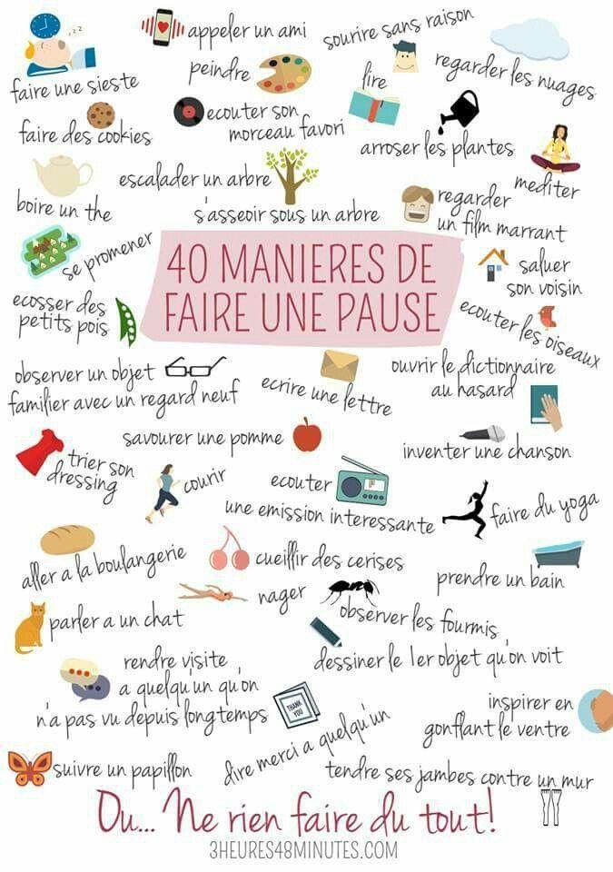 40 manières de faire une pause