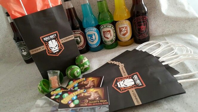 Call of Duty Black Ops III Birthday Party Favors. Inside is: 1 Perk-A-Cola, 1 pack of GobbleGum, and a Camo Easter Egg with a gummy teddy bear. #callofdutyparty #blackops3party