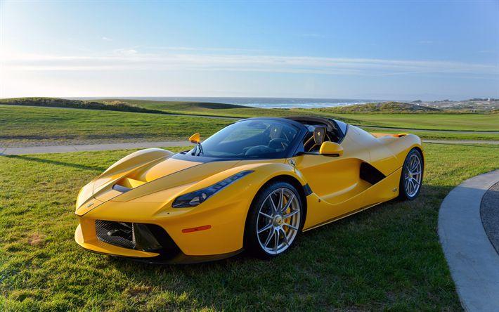 Download wallpapers Ferrari LaFerrari Aperta, 4k, 2017 cars, supercars, yellow LaFerrari, Ferrari