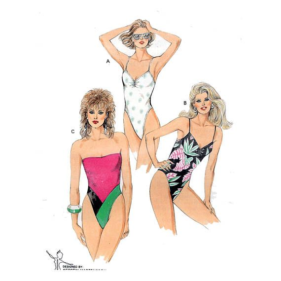 80s High Cut Swimsuit With Straps Or Strapless Sewing Pattern