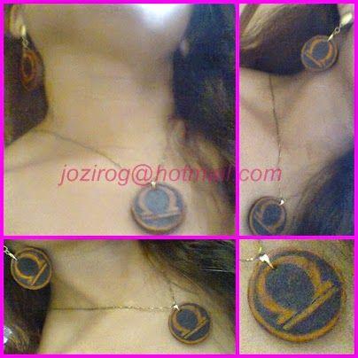 Arte com amor: Conjunto de brinco e colar com símbolo astrológico...