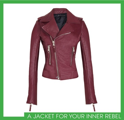 beautiful red leather jacket. yes please!