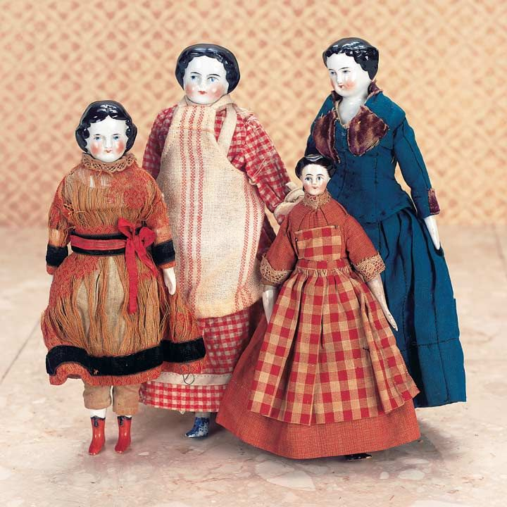 German Porcelain Dollhouse Dolls. My Penn Dutch, great aunt purchased a doll similar to one of these for my sister when she was little. Growing up, we thought the doll to be odd-looking, but now I can see the origin.