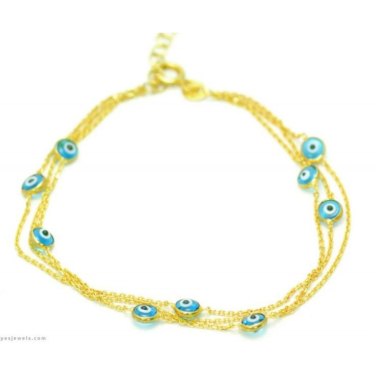 #silver #bracelet #evileye #fashion #gumus #nazarlik #bileklik   https://www.yesjewels.com/tr/bileklik/42-altin-kaplama-nazar-boncuklu-bileklik.html