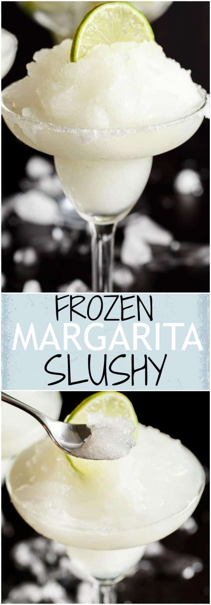 Frozen Margarita Slushy blends the original Margarita made with Tequila and fresh lime juice with ice cubes to make a refreshing icy drink! #wineglasswriter