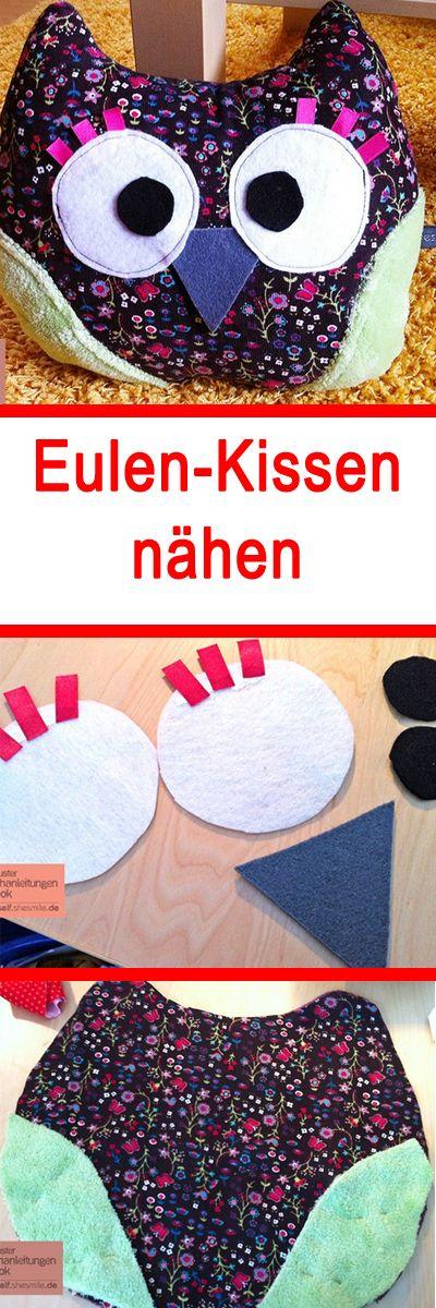 Super süßes Eulen-Kissen - ganz leicht selbst zu nähen! Auch für Anfänger. Hier gibt es die Anleitung: www.bildderfrau.de/familie-freizeit/eulenkissen-naehen-d59282.html