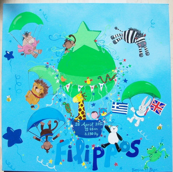 Perfect gift for parties ,christening and new born. Mixed media on canvas