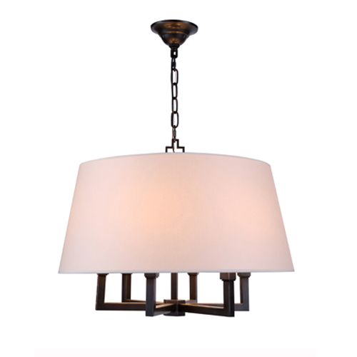 A large paper shade sits atop a highly angled base. Six candelabra bulbs give plenty of glow. In store now at CUSTOM LIGHTING.