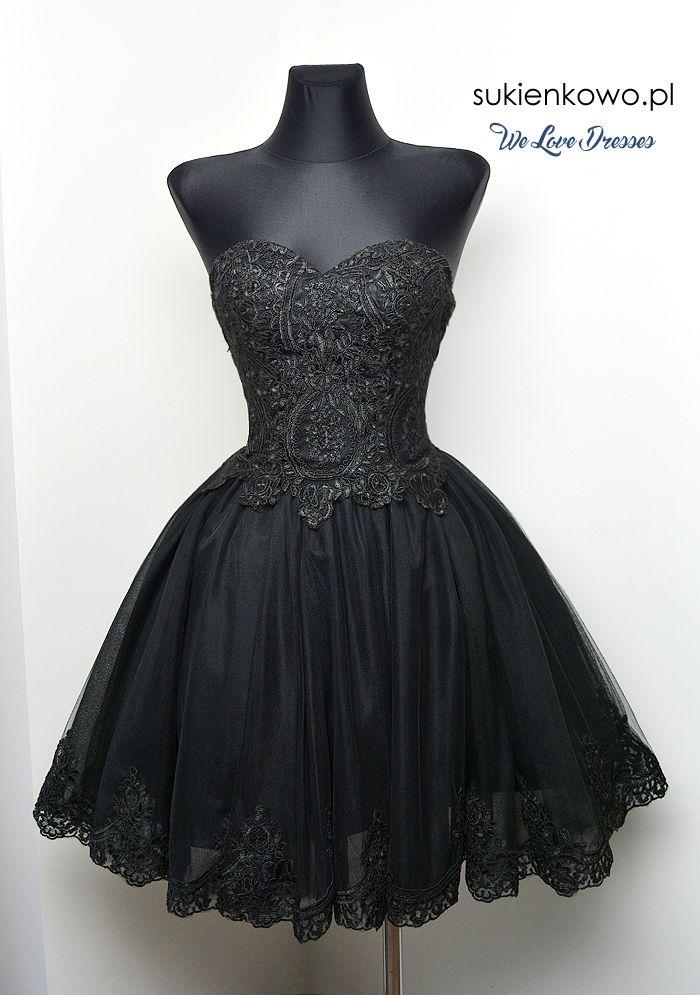 CARACHEL - Gorsetowa sukienka z haftami czarna