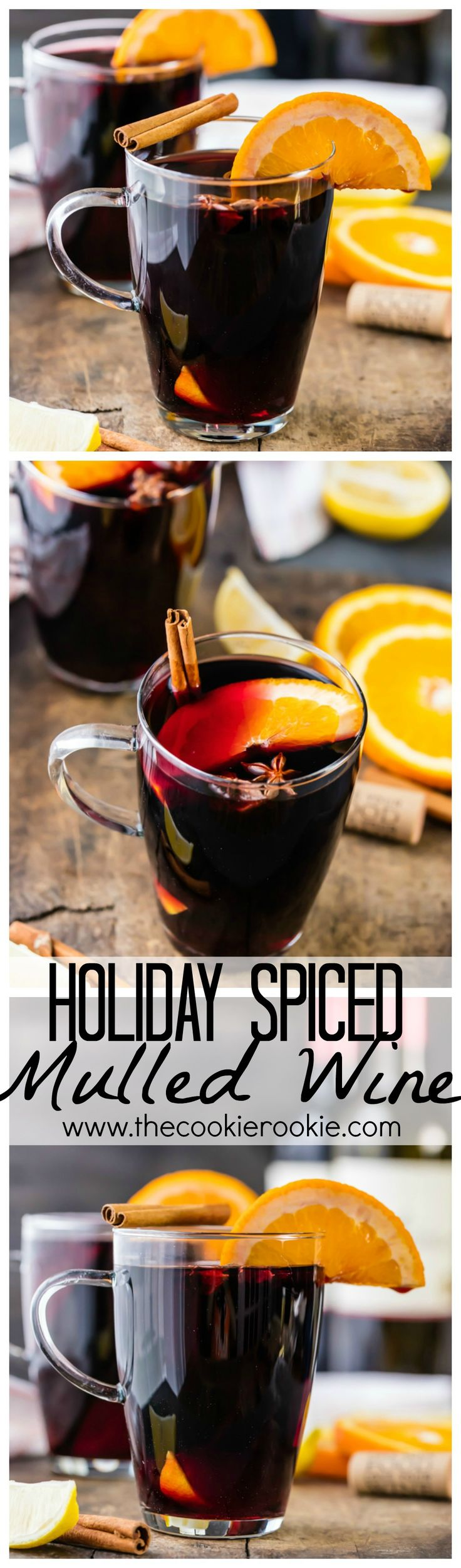 Holiday Spiced Mulled Wine...HOLIDAY SANGRIA! Made in under 30 minutes! An instant family favorite! Use your favorite red wine and make your house smell AMAZING!