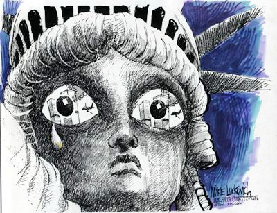 statue of liberty crying 9/11 | ... showing the Statue of Libery crying over loss of the Twin Towers