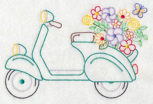Scooter in Bloom Embroidered Flour Sack Hand/Dish Towel