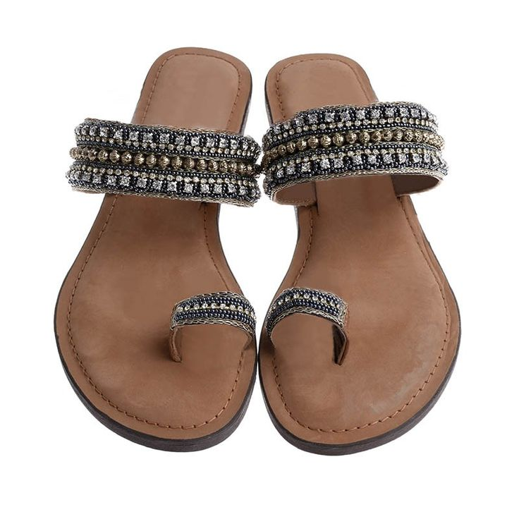 LEATHER SANDAL W/ SILVER BEADS - Sandals
