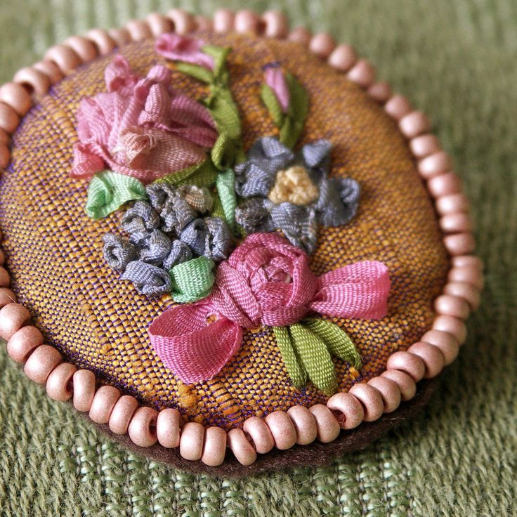 Silk ribbon embroidery- brooch
