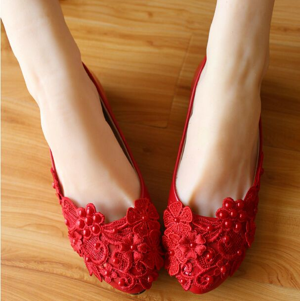 Women's Sweet Red Flat Shoes lace&beads Wedding Shoes bride&bridesmaid Sandals #Other #BalletFlats