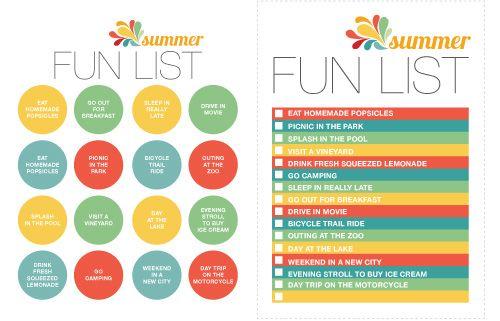 summer fun list!Buckets Lists, Summer Bucket Lists, Summer Buckets, Fun Buckets, Summer Checklist, Lists Printables, Fun Lists, Summer Fun List, Summer Ideas