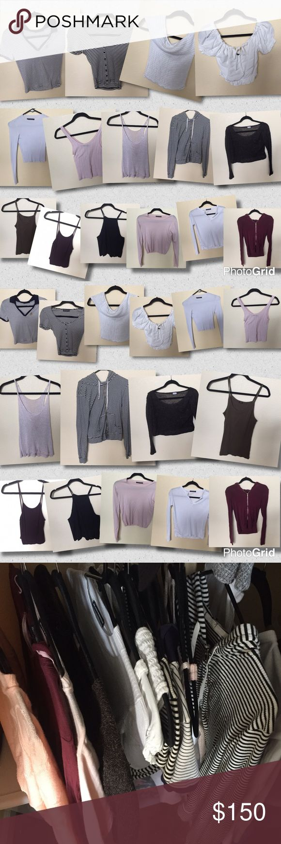Brandy Melville Lot Bundle collection selling ALL All tops 16 pieces total - selling my last season Brandy collection - zip ups tanks shirts and sweaters - a couple are John Galt but most have the brandy Melville tag - some are worn pretty heavily (the maroon zip up hoodie and the white mock turtleneck) but the rest were only worn once or twice and some are NWOT - a couple don't have tags but they are all from the store in San Francisco . They are all one size fits all but I would say…