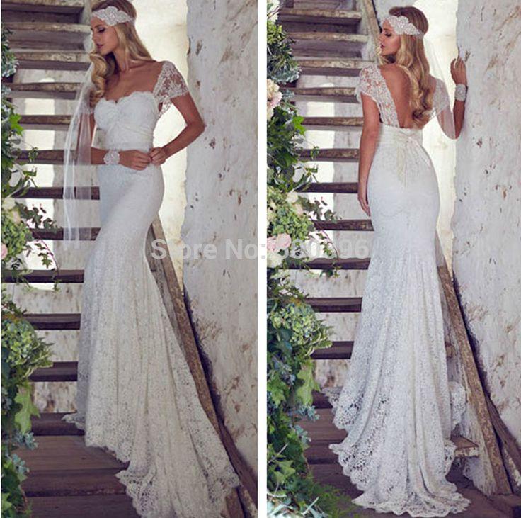 Mermaid Wedding Dress White Lace Cap Sleeves Bridal Wedding dress 2015 vestidos de novia Sexy Backless Wedding Dress