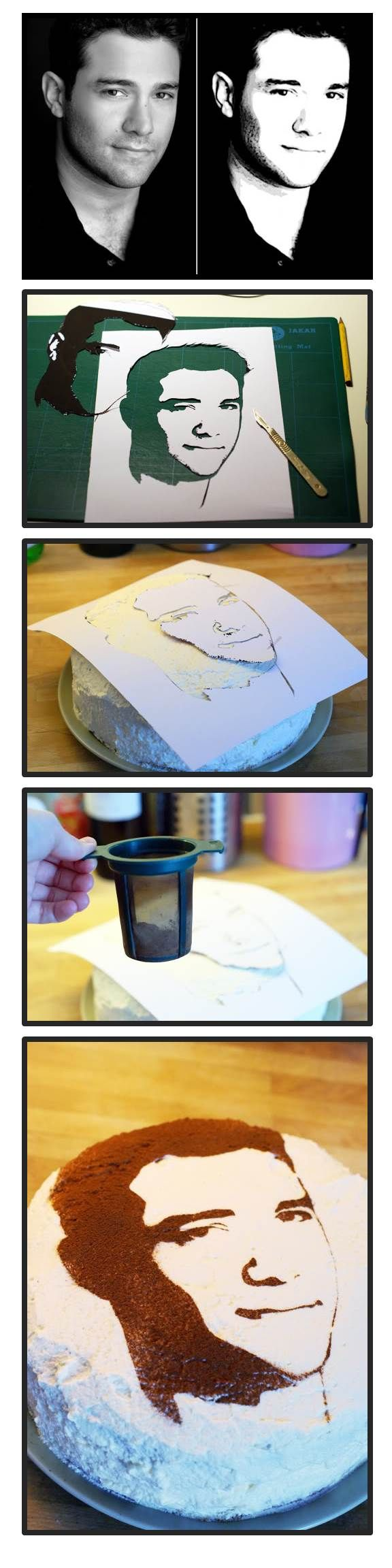 Wie, was für eine tolle Idee! Ein Gesicht von einem Foto auf einen Kuchen machen... How to Make a Face Cake: Lisa Edoff does a great job. Sift cocoa over stencil. Don't use too much, a thin layer is best.